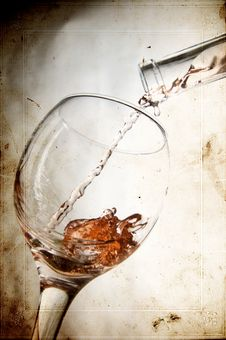Free Red Vine In Glass On Vintage Background Stock Images - 18440784