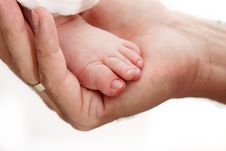 Free Baby Leg In Father S Hand Stock Photography - 18440942