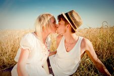 Free Image Of Young Man And Woman On Wheat Field Stock Image - 18441761