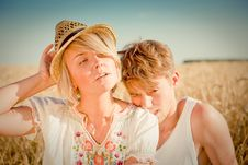 Free Image Of Young Man And Woman On Wheat Field Royalty Free Stock Photos - 18442188