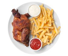 Free Half Roasted Chicken And French Fries Stock Images - 18442374