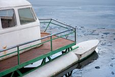 Boat In An Icy Lake Royalty Free Stock Images
