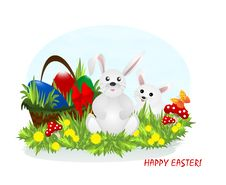 Free Two Bunnies And Easter Eggs, Cdr Vector Stock Photo - 18443340