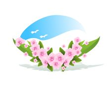 Free Branch With Spring Flowers, Cdr Vector Stock Image - 18443391