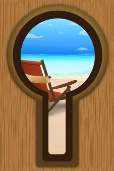 Beach View From Door Lock Royalty Free Stock Images
