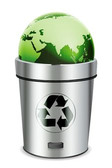 Recycle Bin With Globe Royalty Free Stock Photography