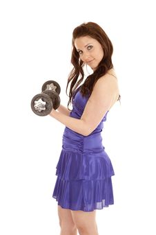 Woman Blue Dress Weights Side Curl Royalty Free Stock Photos