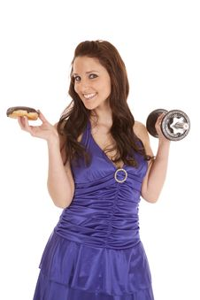 Woman Blue Dress Weights Smile At Donut Royalty Free Stock Photo