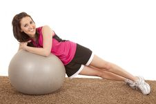 Woman Fitness Ball Side Lay Happy Royalty Free Stock Images