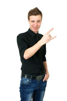 Free Young Male Showing Rock Hand Royalty Free Stock Photography - 18444307