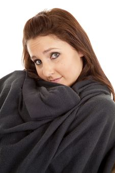 Free Woman In Blanket With A Slight Smile Royalty Free Stock Photos - 18444458