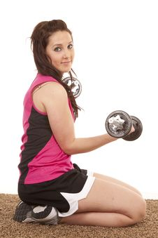 Woman Kneel Side Weights Royalty Free Stock Image