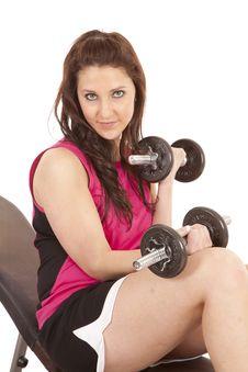 Woman Pink Tank Top Curls Stock Photo