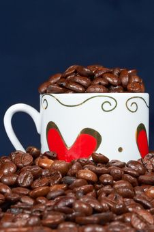 Free White Cup With Hearts And Coffee. Royalty Free Stock Photo - 18445185