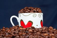 Free White Cup With Hearts And Coffee. Stock Photo - 18445280