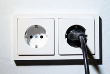 Electrical Outlet With Plug Stock Image