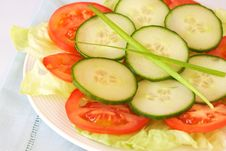 Free Fresh Salad With Cucumber And Tomato Royalty Free Stock Photos - 18445628
