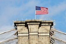 Free American Flag On The Top Brooklyn Bridge Royalty Free Stock Photography - 18445677