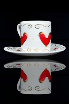 Free White Cup With Hearts. Stock Photos - 18445903