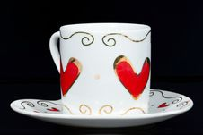 Free White Cup With Hearts. Royalty Free Stock Photos - 18445938