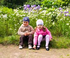 Boy And Girl In Park Stock Photo