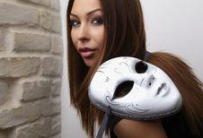 Free Elegant Girl With Mask Royalty Free Stock Image - 18447236