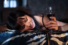 Free The Woman With A Wine Glass Stock Images - 18447634