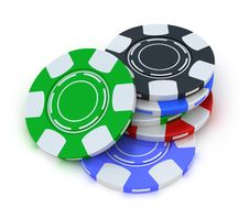 Free Poker Gambling Chips In Pile Top View Stock Photography - 18448022