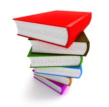 Books Multicolor In Pile Top Side Closeup Stock Images
