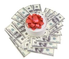 Free Round Box With Banknotes Royalty Free Stock Image - 18448186