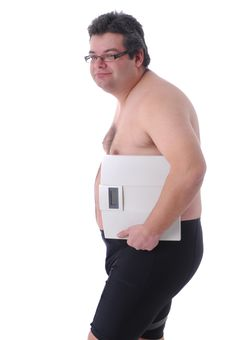 Free Fat Man Doing Workout Royalty Free Stock Image - 18448206