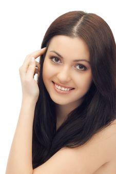 Attractive Brunette Woman Close Her Chest By Arms Royalty Free Stock Photo