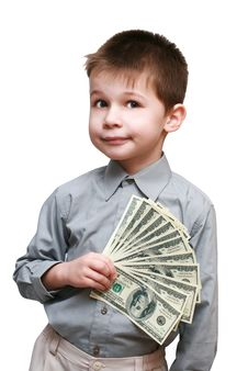 Boy Holding A Lot Of Dollars Royalty Free Stock Photography