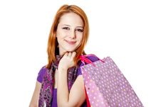 Free Shopping Girl In Violet With Bag Royalty Free Stock Photography - 18449417