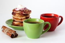 Pancakes And Coffee For Breakfast Stock Image