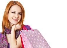 Free Shopping Girl In Violet With Bag Stock Images - 18449424