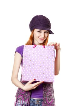 Free Shopping Girl In Violet With Bag Royalty Free Stock Photo - 18449435