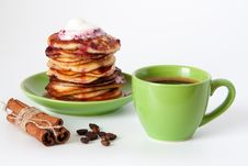 Pancakes And Coffee For Breakfast Royalty Free Stock Photos