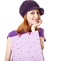 Free Shopping Girl In Violet With Bag Stock Images - 18449444