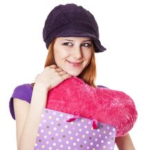 Beautiful Red-haired Girl With Heart In Bag. Royalty Free Stock Image