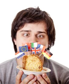 Free Men Keep Cake With European Flags. Stock Images - 18449494