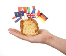 Free Hand Keep Cake With Some European Flags. Royalty Free Stock Photos - 18449498