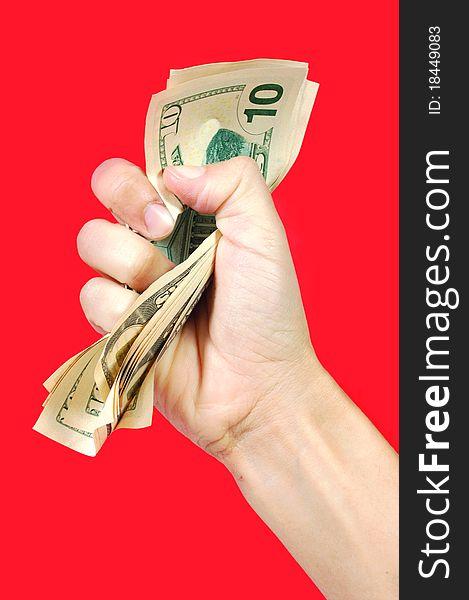 Hand squeezing money