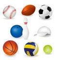 Free Big Set Of Sport Balls And Tennis Cap. Vector Stock Photography - 18456502
