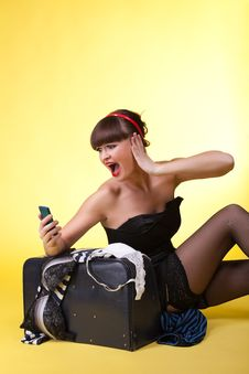 Young Woman With Broken Baggage Scream On Cell Royalty Free Stock Image