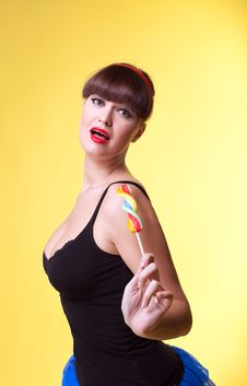 Free Beauty Woman With Candy Pinup Style Royalty Free Stock Photo - 18450635