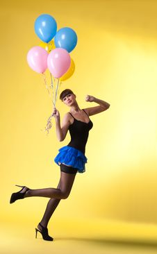 Free Pretty Woman With Balloons Pinup Style Royalty Free Stock Image - 18450646