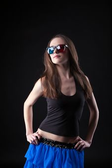 Free Beauty Girl Dance Disco In Anaglyph Glasses Royalty Free Stock Photo - 18450705