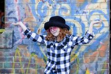 Free Red Haired Little Girl In Front Of Brick Wall Royalty Free Stock Images - 18451049