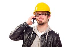 Free Handsome Young Man In Hard Hat On Phone Royalty Free Stock Photos - 18451368